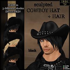 cowboy hat black (men)