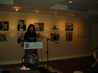 "Elisa Albert reads from her debut novel, ""The Book of Dahlia"" / photo taken by Rachel Mauro"