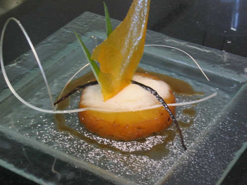 Roasted Pineapple with Mango Sorbet and Mango Chips