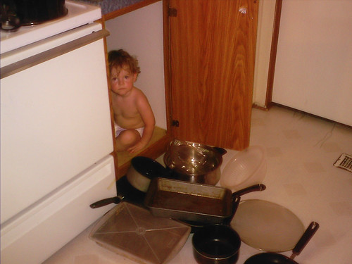 Evan in the pan closet