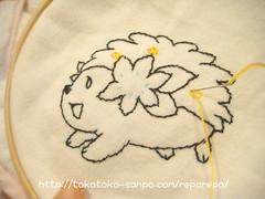 無添加ガーゼケットにポケモンキャラ「シェイミ」を刺繍♪ シェイミ刺繍スタート