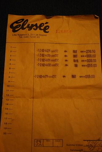 Restaurant bill from Elysée, Malmö