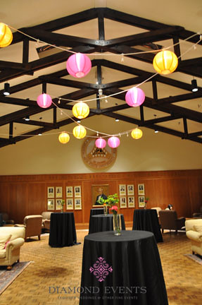 Lanterns hung in the foyer of the German Club for a wedding