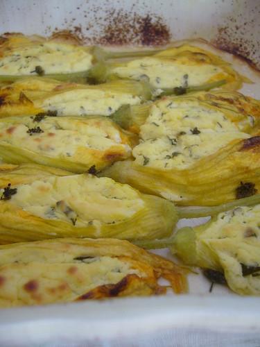 Fiori di zucca farciti al formaggio in salsa di limone e miele