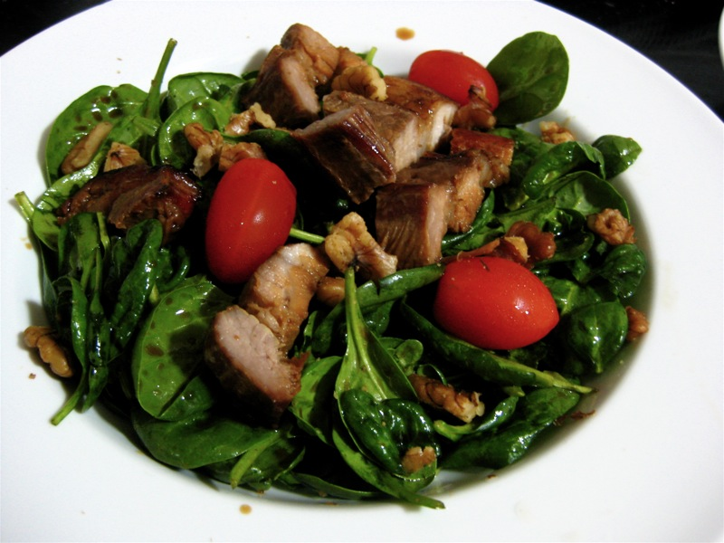 pork belly and spinach salad