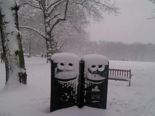 happy snowy recycling bins