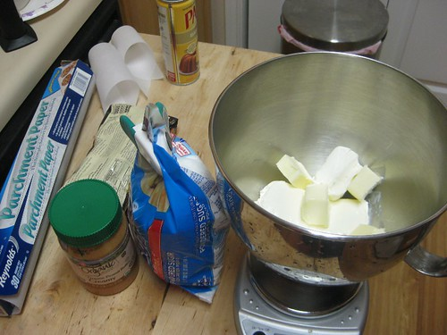 Making the peanut butter cream cheese frosting