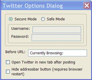 TwitterBar Dialog Box