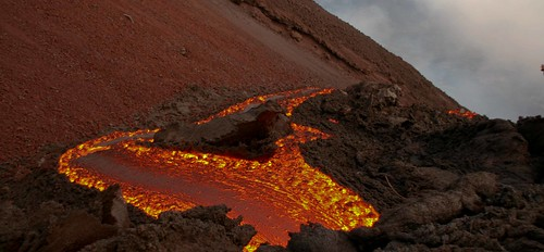 A river of lava near the peak of Volcan de Pacaya