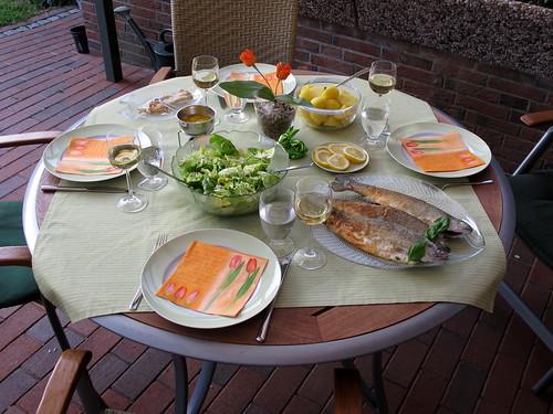 Gebratene Forelle zu Kartoffeln und Salat