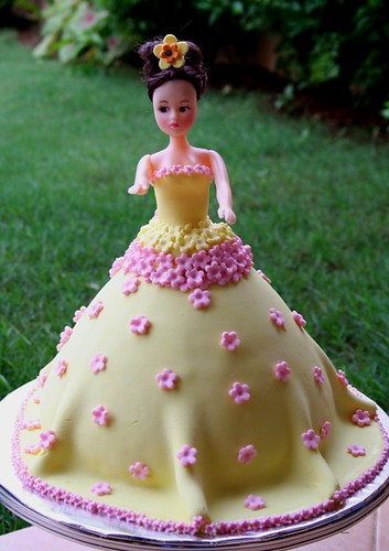 Image result for  yellow barbie birthday cake