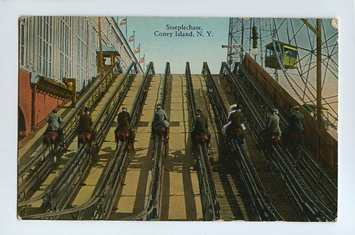 Vintage postcard of Coney Island's original Steeplechase Ride