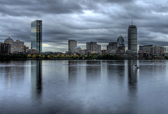 Storms Loom Over Boston (chris lazzery) Tags: boston skyline clouds cityscape massachusetts charlesriver hancock prudential hdr canonef1740mmf4l xti 400d