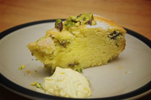 Pistachio and polenta cake