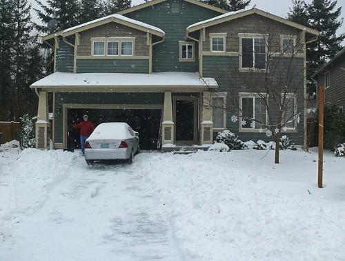 We borrowed the neighbors snow shovel to make a path.