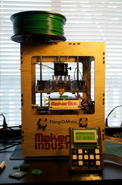 Printed filament spool holder installed on the Thing-O-Matic