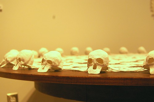 skulls and doily close up