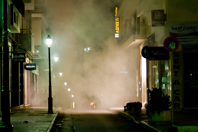 Riots in Greece (Dec 2008) Tear Gas