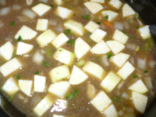 Stew with zucchini.