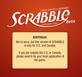 we're sorry, but this version of SCRABBLE is only for the US and Canada