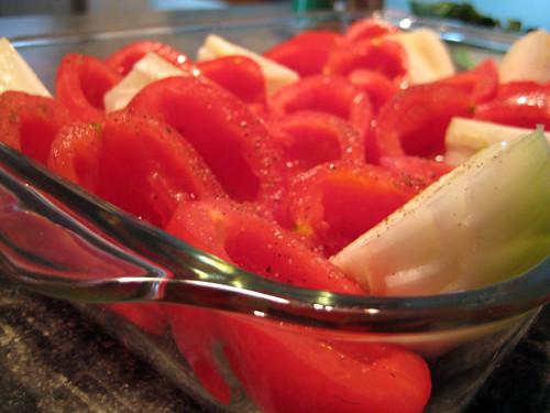 Tomatoes, Onion and Garlic pre-roasting