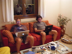 David and Brad working in Lake Como