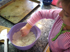Mixing flour for cookies