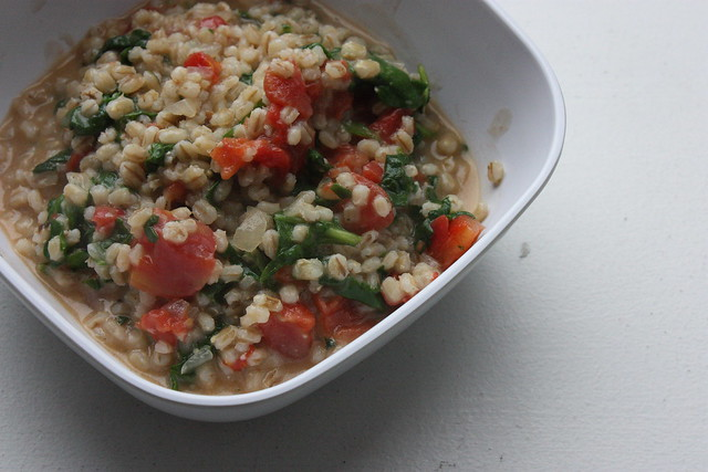 Creamy Barley with Tomato and Greens