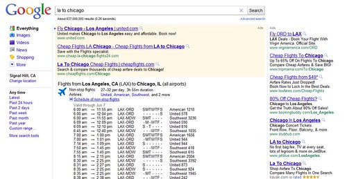 Google Flight Search Results