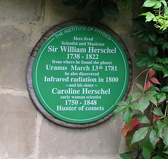 Plaque at the Herschel Museum in Bath, UK