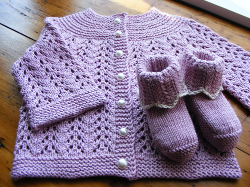 February Baby Sweater and Booties