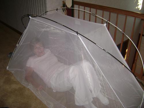 Mom tries my mosquito net