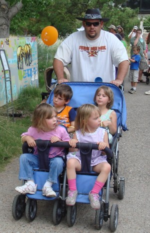 Daddy and the little kids.