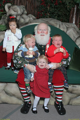 Claire and friends in Santa's lap