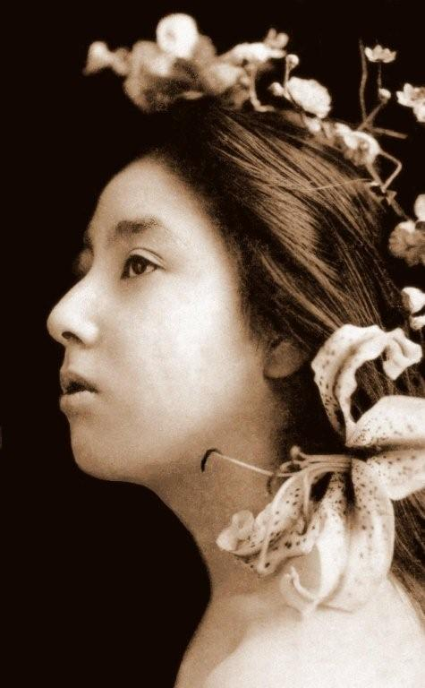 GEISHA WITH HER HAIR DOWN -- A Profile in Flowers