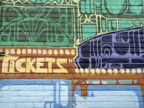 Tickets, mural outside the vintage Riverview Theater, Minneapolis, Minnesota, August 2007, photo © 2007-2009 by QuoinMonkey. All rights reserved.