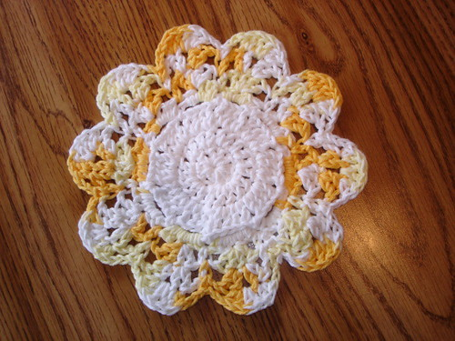 Crocheted dishcloth, cute!