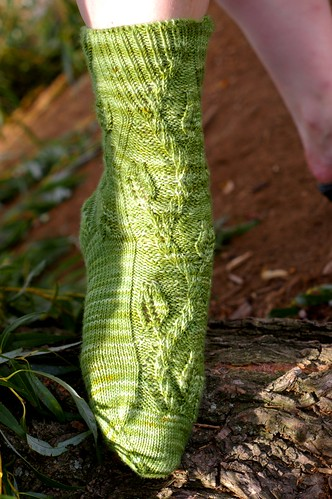 green forked sock front 2