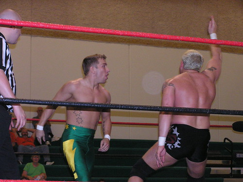 The NWA Missouri Champ Dingo and the NWA Central States Champ Michael Strider go chop for chop on June 2, 2007.