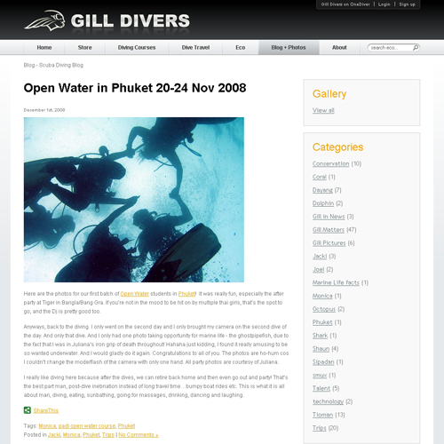 Gill Divers - Blog + Photos