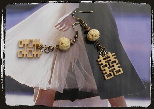 Orecchini beige simbolo felicità - Happiness beige earrings MEHIVER