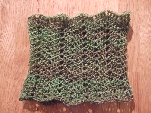 green handspun cowl finished