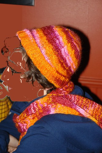Side view of Diane in her hat and scarf