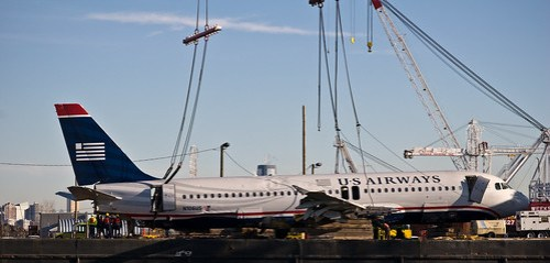 US Airways Flight 1549 on the barge