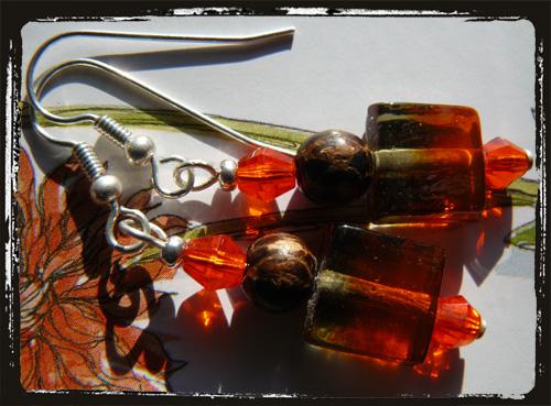 Orecchini fatti a mano arancio e marrone  - Orange brown handmade Earrings MEHBARMA