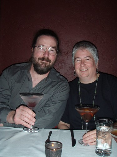 Jerry and Lori. Jerrys drink featured a wild hibiscus flower