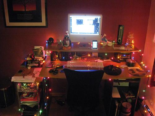 Home Desk w/Christmas Lights