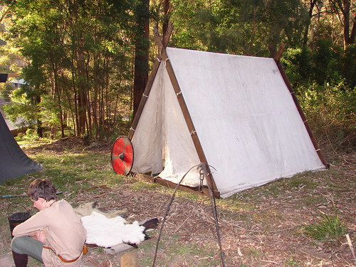 Viking a-frame tent with shield