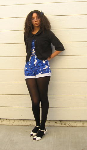 black and blue and white with jacket