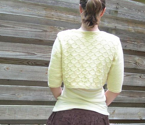Hexacomb Cardigan, back view.
